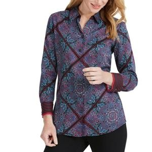 Foxcroft  Paisley Addison Button Down Top size 10P